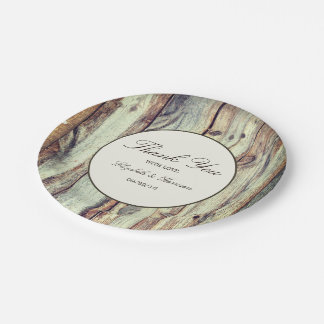Natural Brown Oak Wedding Paper Plate