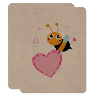 Natural brown paper Greeting with Lady bee Card