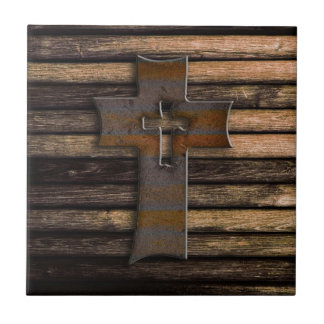 Natural Brown Wooden Cross Small Square Tile