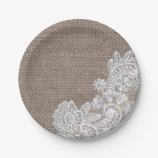 Natural Burlap & Lace Shabby Chic Paper Plates 7 Inch Paper Plate