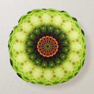 Natural Cactus Texture Mandala Round Cushion