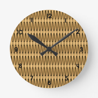 Natural cane wicker round clock
