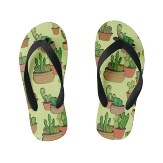 Natural Cartoon Potted Cacti Kid's Thongs