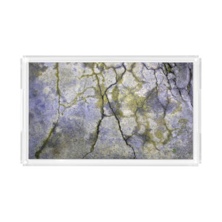 Natural Cracked Stone with Lichen Texture Acrylic Tray