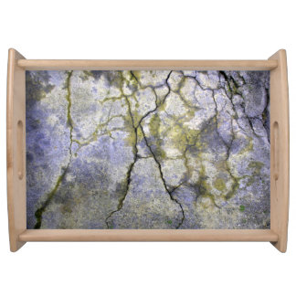Natural Cracked Stone with Lichen Texture Serving Tray