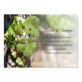 Natural Grape Leaves Vineyard Save the Date 11 Cm X 16 Cm Invitation Card