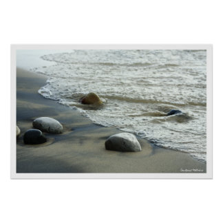 Natural Great Lakes Beach Rocks Poster Print
