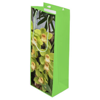 Natural Green and Yellow Orchid Wine Gift Bag