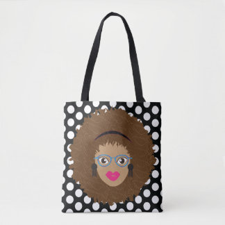 Natural Hair Glam Black and White Dotted Tote Tote Bag