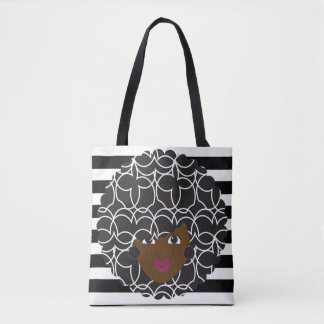 Natural Hair Glam Black +White Striped Tote Tote Bag