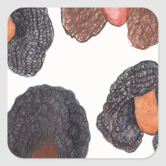 natural hair square sticker