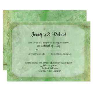 Natural Jade 35th Anniversary Response Card 9 Cm X 13 Cm Invitation Card