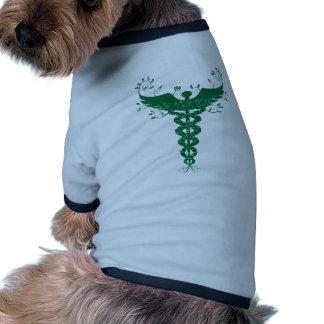 Natural Leaves Caduceus Medical Symbol Dog Tee