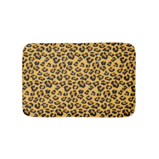 Natural Leopard Skin Print Fake Fur Pattern Bath Mat