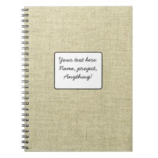 Natural Linen Canvas Texture Spiral Notebook