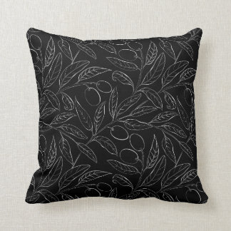 Natural Olive Decorative Throw Pillow in Black