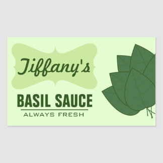 Natural Organic Basil Sauce Rectangular Sticker