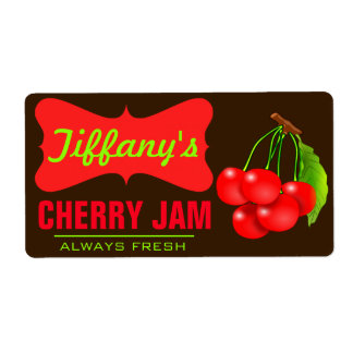 Natural Organic   Cherry Jam   Handmade Jams Shipping Label