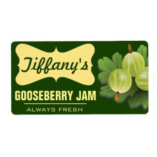 Natural Organic   Gooseberry Jam   Handmade Jams Shipping Label