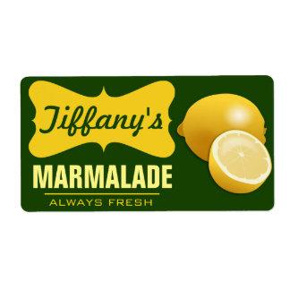 Natural Organic   Lemon Jam   Lemon Marmalade Shipping Label