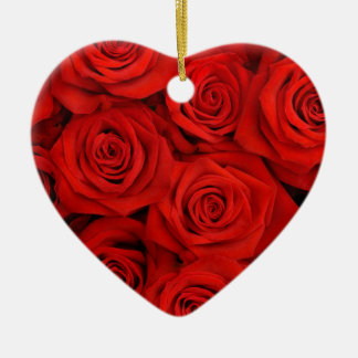 Natural red roses background ceramic heart decoration