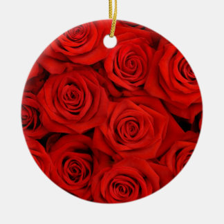 Natural red roses background round ceramic decoration