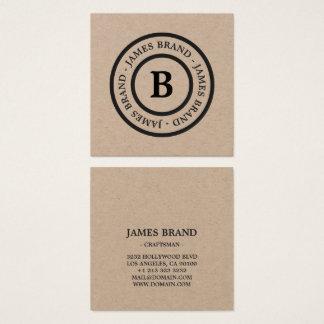 Natural Rustic Minimalist Monogram Kraft Paper Square Business Card