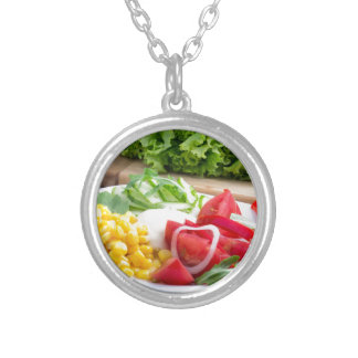 Natural salad of tomatoes, mozarella cheese silver plated necklace