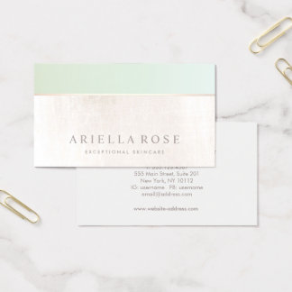 Natural Skin Care Spa Green White Marble Business Card