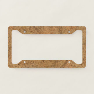Natural Smoke Cork Bark Wood Grain Look Licence Plate Frame