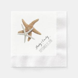 Natural Starfish Couple White Personalized Wedding Disposable Serviette