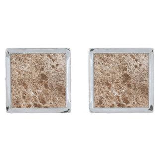 Natural Stone Pattern Cufflinks Silver Finish Cufflinks