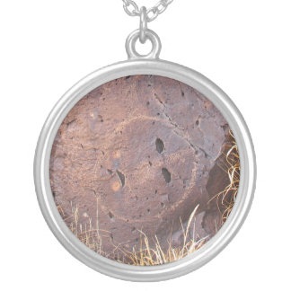 Natural Stone Petroglyph Silver Plated Necklace