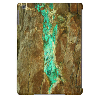 Natural turquoise vein in rough brown stone iPad air cover