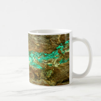 Natural turquoise vein in rough brown stone coffee mugs