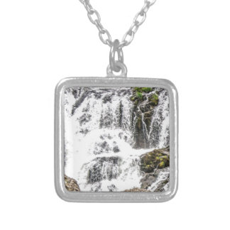 Natural water flows silver plated necklace