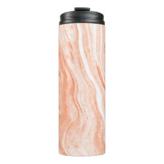Natural White And Orange Spotted Marble Thermal Tumbler