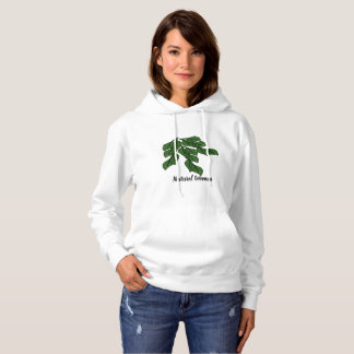 Natural women with green leafs design on hoodie