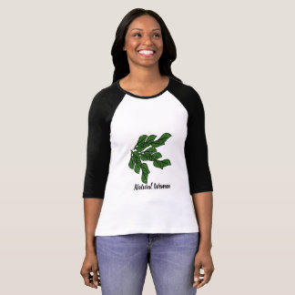 Natural women with green leafs design on t-shirt