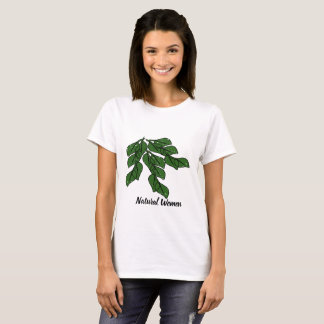 Natural women with green leafs design T-Shirt