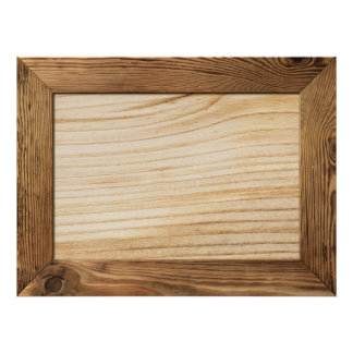 Natural Wood Frame With Wooden Plank Inside Print