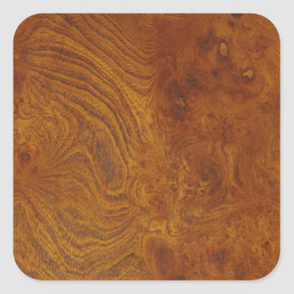 Natural Wood Grain Image with Golden Swirls Square Sticker