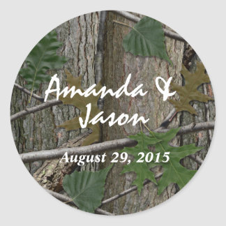 Natural Woodland Trees Bark and Leaves Classic Round Sticker