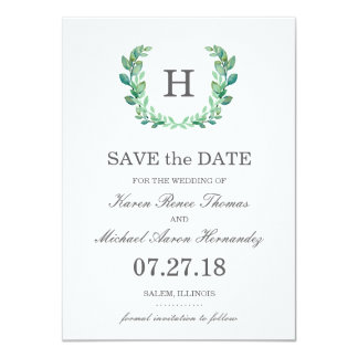 Natural Wreath Wedding Save the Date Card