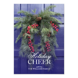 Natural wreath with holly berries on blue door 13 cm x 18 cm invitation card