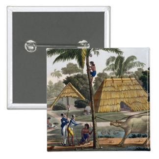 Naturalists question natives near Kupang, Timor, p 15 Cm Square Badge