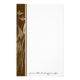 Naturally Beautiful: Brown border with Ecru Flower Customised Stationery
