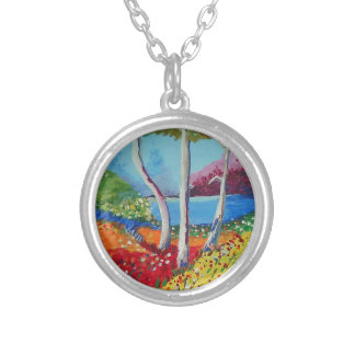 Naturally colorful silver plated necklace