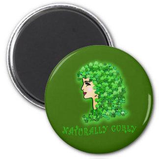 Naturally Curly With Irish Shamrocks Fridge Magnet