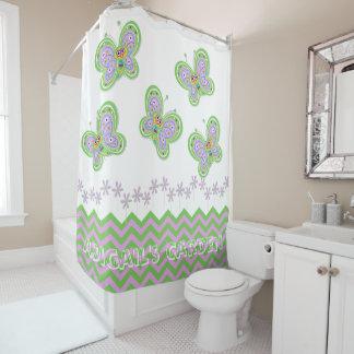 Naturally Fresh Butterfly Garden Whimsy Custom Shower Curtain